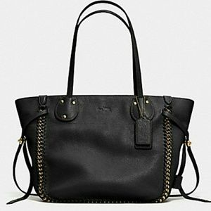 Coach whiplash Tatum large tote black leather
